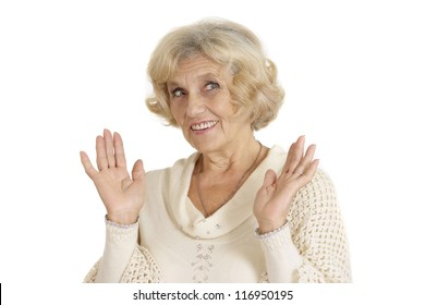 smiling nice elderly woman on a white background