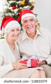 Smiling old couple swapping christmas gifts on the couch