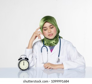 Smiling optimistic young women doctor with hijab,for healthcare practitioner profession, people and medicine concept.
