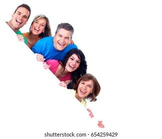Smiling people with broadsheet