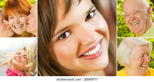 Smiling people collage