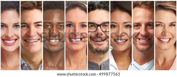 Smiling people set.