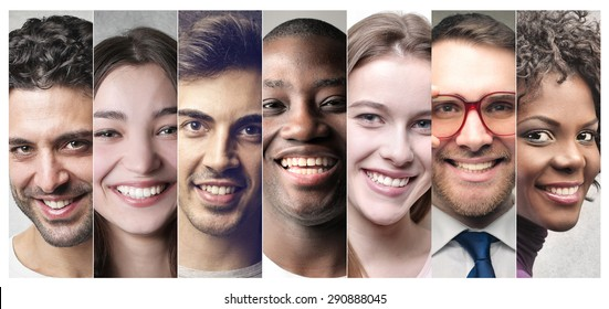 Smiling people's portraits