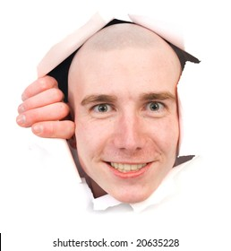 Smiling person young man peering out hole in paper