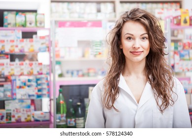 Smiling Pharmacist at her work place. Healthcare business. Medical business