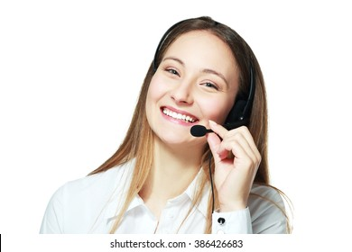 smiling phone operator Customer service representative