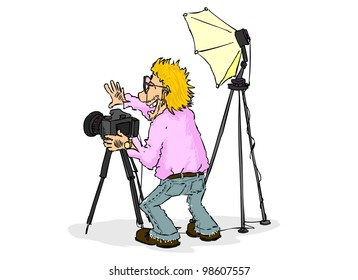 Smiling photographer is going to take a picture