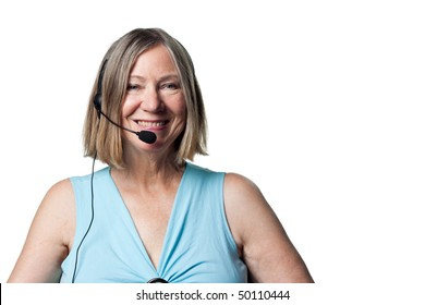 Smiling portrait of a telephone worker, happy and content