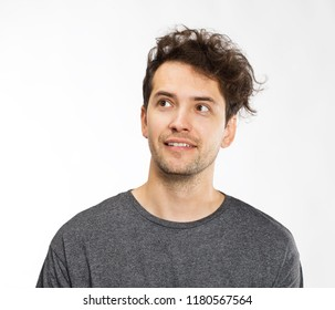Smiling positive male with attractive look, wearing T-shirt