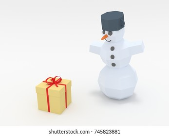Smiling positive Snowman stay next to wrapped gift, isolated, 3d