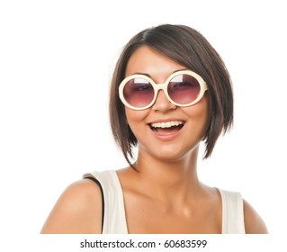 Smiling pretty girl with sunglasses