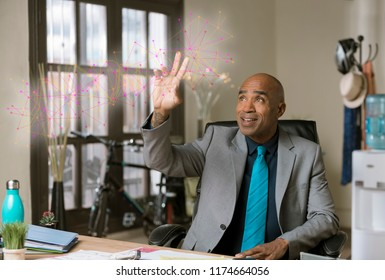 Smiling professional man working on a futuristic web network graphic