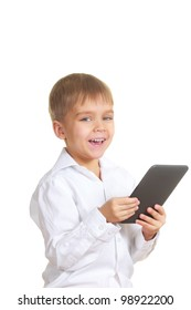 Smiling reading boy with electronic book. Isolated on white
