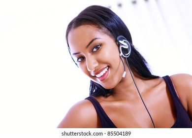 Smiling receptionist or call center worker