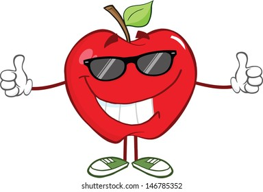 Smiling Red Apple Character With Sunglasses Giving A Thumb Up. Vector version also available in gallery