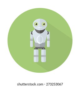 Smiling robot with long shadow. Concept in flat design style. Can be used for web banners, marketing and promotional materials, presentation templates