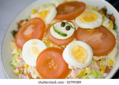 smiling salad. healthy food