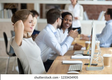 Smiling satisfied businesswoman relaxing leaning back in office chair with hands over head, happy employee after finish difficult work, receiving, reading good news, looking at screen, taking break