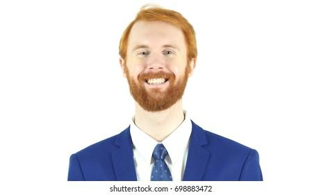 Smiling Satisfied Red Hair Beard Businessman