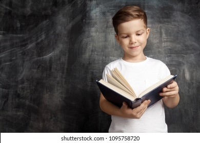 Smiling schoolboy standing near blackboard and reading book. Little pupil in white T-shirt looking at book in shool. Education and elementary school concept.