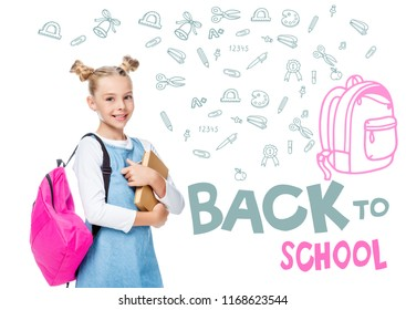 """smiling schoolchild with pink backpack holding books and looking at camera isolated on white, with icons and """"back to school"""" lettering"""