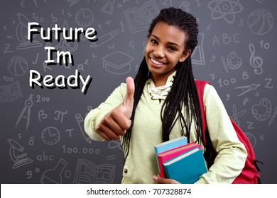 smiling schoolgirl is ready for future