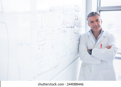 Smiling scientist leaning against the whiteboard in laboratory