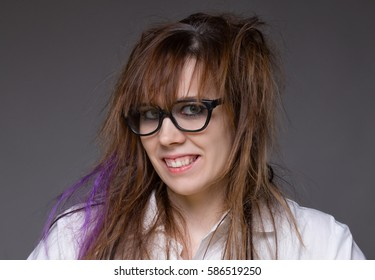 Smiling scientist shaggy woman