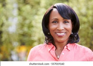 Smiling senior African American woman, horizontal, portrait