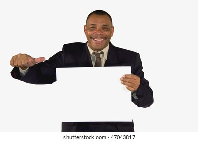 a smiling senior African-American businessman presenting a picture board with copy space and posing with thumbs up, isolated on white background
