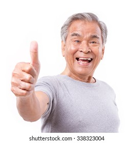 smiling senior laughing old man showing thumb up gesture; happy senior smiling old man raising thumb up; senior citizen, old man pensioner thumb up; accepting elderly senior old man says good, yes, ok