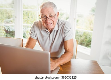 Smiling senior man using laptop at home