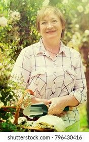smiling senior woman gardener holding basket and horticultural tools in garden on sunny day