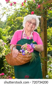 Smiling senior woman holding basket with flowers in garden on sunny day