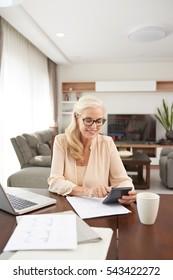 Smiling senior woman making calculations at home