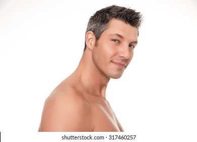 smiling shirtless man portrait isolated