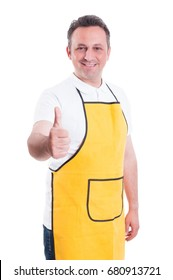 Smiling shopman showing thumb up to you or doing like gesture on white background