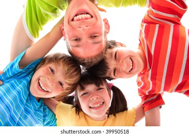 Smiling siblings in circle