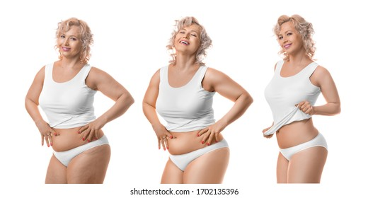 Smiling slimming middle aged model in white lingerie. Process of slimming. Isolated on white background.