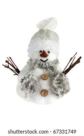 Smiling snowman isolated over white background
