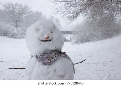 smiling snowman in the park