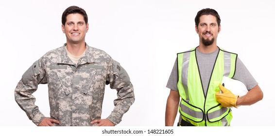 Smiling soldier and construction worker posing