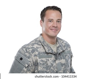 Smiling Soldier on white background