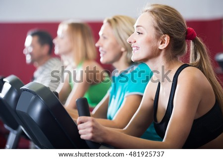 Smiling spanish adults gym working out stock photo edit now