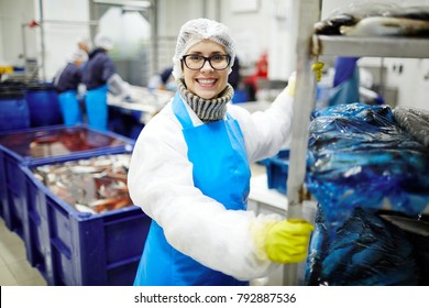 Smiling staff of seafood processing plant pushing huge cart with packed fish