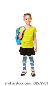 Smiling student with a bright backpack