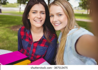 Smiling students studying outdoor at park