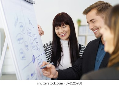 Smiling successful young business team standing together at a flip chart discussing a project with focus to a pretty stylish young woman