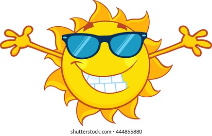Smiling Summer Sun Cartoon Mascot Character With Sunglasses And Open Arms For Hugging. Raster Illustration Isolated On White Background