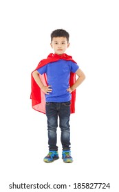 smiling Superhero kid standing over white background